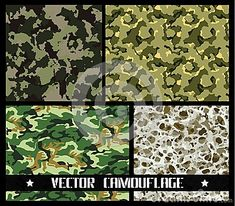 Set of different vector camouflages. Forest and urban. with a minimum number of layers Camouflage, Layers, Urban, Number, Layering, Military Camouflage, Camo, Military Style