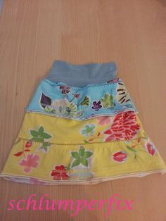 Rock aus Kleidern und T-Shirt / Skirt made from 2 dresses and one shirt / Upcycling