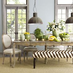 Love this rustic, chic dining room  Louis XVI Dining Chair - Wisteria - $199.00 - domino.com