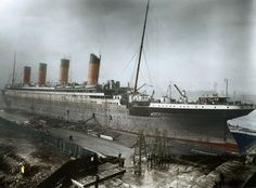 The RMS Titanic near completion at Harland and Wolff shipyards in Belfast, Northern Ireland, in 1911.