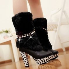 Stylish Fur Round Toe High Heel Platform Leopard Smile Metal Chain Decorated Women Mid-Calf Height Boots