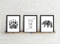 5x7 inches, grey, Bear, Little bear cave, watercolor, Baby boy, Nursery Decor, Bear Cave, Little Bear, Bear nursery, Nursery Art, gift, baby by Thebrightsidebygina on Etsy
