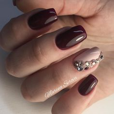 Autumn nails, Brown nails, Fall nails 2017, Ideas of dark nails, Nails for September 1, Nails with rhinestones, Plain nails
