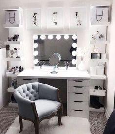 Beauty Room Decor, Makeup Room Decor, Makeup Rooms, Room Design Bedroom, Room Ideas Bedroom, Diy Bedroom, Ikea Room Ideas, Bedroom Colors, Bedroom Furniture