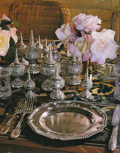 Vintage Silver And Chargers Denise Hale Place Settings Table Decorations