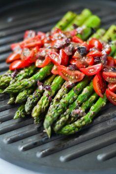 Pan-Grilled Asparagus with Kalamata Olive Vinaigrette