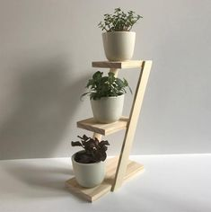 Beautiful 3 Plant Stand - Select American Pine - with or without Ceramic Pots Small Plant Stand, Diy Plant Stand, House Plants Decor, Plant Decor, Plant Table, Desk Plant, Diy Table Top, Ceramic Pots, Plant Cuttings