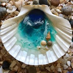 One-of-a-kind resin painted natural seashell trinket dish Seashell Painting, Seashell Art, Seashell Crafts, Diy Resin Art, Resin Crafts, Fun Crafts, Beach Crafts, Monogram Ring Dish, Sea Glass Crafts