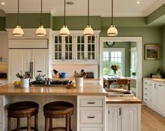 10 Beautiful Kitchens With Green Walls Counter Top And