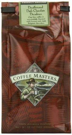 Coffee Masters Flavored Coffee, Dark Chocolate Decadence Decaffeinated, Ground, 12-Ounce Bags (Pack of 4) - http://bestchocolateshop.com/coffee-masters-flavored-coffee-dark-chocolate-decadence-decaffeinated-ground-12-ounce-bags-pack-of-4/