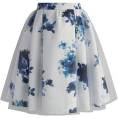Chicwish White Floral Mist Tulle Skirt