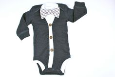 Cardigan and Bow Tie Set  Solid Navy  Grey Gingham or by HaddonCo, $37.00