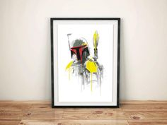Watercolor boba fett  Alternative poster Print   All prints are ready to be framed with a white border around the image (0,5 inch. aprox.)  - Frame are not included -  * Different sizes are available in the drop down menu to the right.  * Glossy paper with a matte finish (160 gr. ) on a digital high quality printing.  * The package are carefully wrapped up in a very solid cardboard tube and the prints covered under a transparent sheet so wich guarantee a extra-protection.  * Please allow…