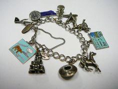 Vintage sterling silver charm bracelet...it's America on your wrist! (NeldasNook on etsy)