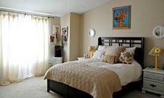 dormitorio cuarto habitacion pintada de color crema