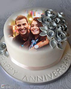 Happy Marriage Anniversary Cake, Happy Anniversary Photos, Anniversary Cake With Photo, Wedding Anniversary Greeting Cards, Birthday Cake With Photo, Wedding Anniversary Photos, Anniversary Verses, Romantic Anniversary, Anniversary Funny