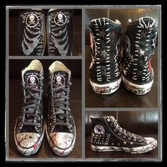 Edgy Shoes, Goth Shoes, Punk Outfits, Grunge Outfits, Punk Fashion, Grunge Fashion, Custom Clothes, Diy Clothes, Mode Punk