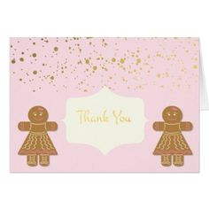 Gingerbread Cookie Girls Christmas Thank You Card - Xmascards ChristmasEve Christmas Eve Christmas merry xmas family holy kids gifts holidays Santa cards