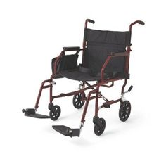 Medline Lightweight Steel Transport Chair 19 Wide Seat DeskLength Arms Swing Away Footrests Burgundy Frame <3 Detailed information can be found by clicking on the VISIT button