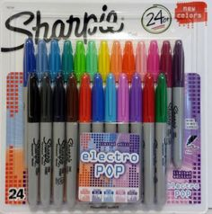 Sharpie Electro Pop Fine Point Permanent Markers 24 pack - The Sharpie Fine Marker contains quick-drying water-resistant ink - buy school stationery at B&M Sharpie Marker Set, Sharpie Pens, Sharpies, Marker Pen, Permanent Marker, Sharpie Colors, School Suplies, Stabilo Boss, Cute School Supplies
