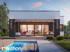 Dom w peperomiach 4 Bungalow, Modern House Design, Home Fashion, Planer, House Plans, Pergola, Mansions, House Styles, Outdoor Decor