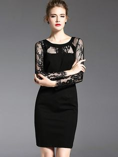 Elegant O-Neck Long Sleeve Lace Knitting Bodycon Dress from DressSure.com #dresssure #fashion #dresses #HighQuality