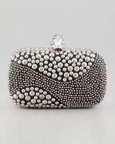Alexander McQueen Classic Studded Skull-Clasp Clutch Bag, Black/Silver
