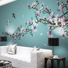 % of réductionwellyu magnolia hand painted mebi flower bird new wall chinese painting decorative customize great wallpaper muralpapiers painted - aliexpress Tree Wall Painting, Tree Wall Murals, Mural Wall Art, Home Decor Wall Art, Room Decor, Flower Mural, Flower Bird, Bedroom Murals, Living Room Art