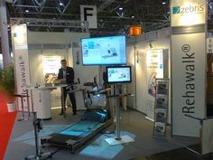 Also our partner ZEBRIS exhibited an instrumented h/p/cosmos treadmill with force distribution measurement and visual stimulation as well as virtual training animation software for gait training and biomechanical analysis on Rehacare exhibition in Düsseldorf in September 2014.