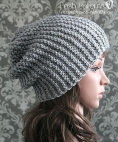 Knitting PATTERN - Easy Beginner Knit Slouchy Hat Pattern