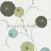 Vliesové tapety na zeď Novara květy tyrkysově modré