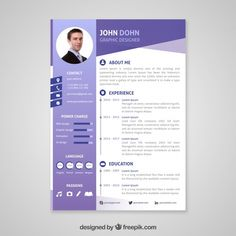 Professional curriculum vitae template Free Vector