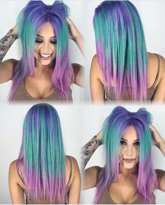 Adorable Mermaid Color Melt by - Hair And Beauty Pretty Hair Color, Beautiful Hair Color, Beautiful Mermaid, Purple Hair, Ombre Hair, Bright Hair, Bright Coloured Hair, Colourful Hair, Pinterest Hair