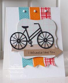 Pure Innocence I Wheelie Like You (sentiment);  Bicycle Die-namics; Mini Album Bracket STAX Die-namics; Fishtail Flags STAX Die-namics; Lead the Way Die-namics; Blueprints 2 Die-namics - Inge Groot