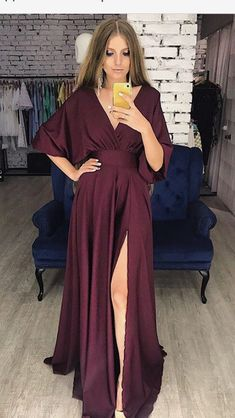 Unique Design Fashion Soft Cheap V-Neck Side Split Prom Dresses Split Prom Dresses, Prom Dresses Online, Bridesmaid Dresses, Formal Dresses, Mode Style, Dream Dress, Dress To Impress, Beautiful Dresses, Ideias Fashion
