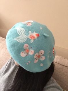 Items similar to Christmas gift Wool beret with Needle Goldfish and Brocarded Carp in cherry blossoms, hat pattern,romantic beret on Etsy Harajuku Fashion, Kawaii Fashion, Outfits For Teens, Cool Outfits, Fall Fashion Trends, Fashion Spring, Fall Trends, Accesorios Casual, Cute Hats