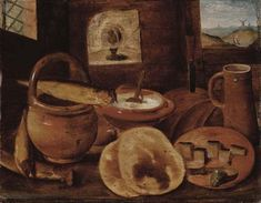 1599, Hieronymous Francken II (1578-1623) A poor man's meal:a loaf of bread,porridge,buns and a herring on a wooden table,oil on panel,35.8х45.7 cm. Notes-Sold at Christie's on 17 May 2004,Amsterdam, lot 72.