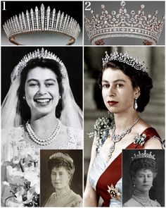 Royal Tiaras Part 1: Tiaras The Queen wears (swipe left). 1. Queen Mary Fringe Tiara. It was made in 1919 for Queen Mary out of diamonds from a tiara Queen Victoria purchased in 1893. The Queen Mum later lent it to Princess Elizabeth on her wedding day (although it snapped). 2. The Girls of Great Britain and Ireland Tiara. Queen Mary received this as a wedding gift in 1893 from a committee of women representing Britain and Ireland. Mary then gave it to Elizabeth as a wedding...