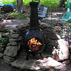 Lovely Natural Gas Chiminea   Blue Rooster ALCH014GK GA NG   Dragonfly Gas Chiminea  Outdoor Fireplace   Gold Accent