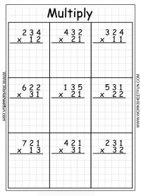 Multiplication - 3 Digit By 2 Digit...worksheets with and without regrouping