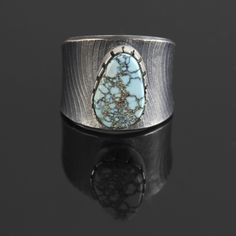Wright's Indian Art: Concave Silver and Number 8 Turquoise Band by Pete Johnson