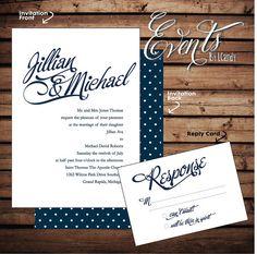 WEDDING INVITATION SAMPLE - vintage navy blue script with white polka dots