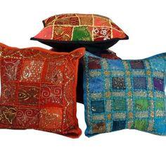 5 Pc  Rajasthani Patchwork Cotton Cushion Cover Set Mix Lot Home Decor