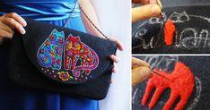 Я рада представить вам небольшой мастер-класс по созданию рисунка в технике сухого валяния.Приглашаю вас создать необычный узор в стиле Лорел Берч на клатче или сумочке в технике фильцевания. Textile Fiber Art, Fibre Art, Zipper Crafts, Felting Tutorials, Felt Toys, Saddle Bags, Textiles, Shoulder Bag, Hand Bags