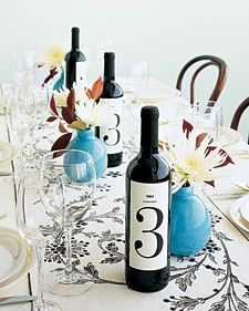 Wedding, Table, Numbers, Wine, Bottle