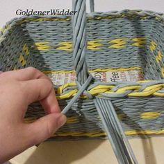 Плетение из газетных трубочек: Ручка для корзин, очень стабильная. Ручка.