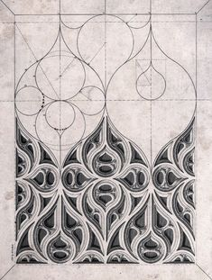 G B Smith - A section of Gothic tracery (c. 1840).
