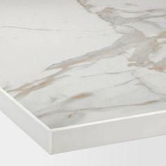 SKARARP Custom made worktop - matt white, marble effect ceramic - IKEA Marble Wall, White Marble, Color Glaze, Kitchen Worktop, Marble Effect, Hot Pot, Work Tops, Custom Made, Cleaning Wipes