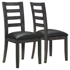 Monarch Frankford Charcoal Gray Ladder Back 2 Piece Side Chairs - I 1601