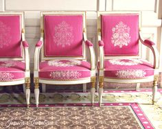 Pink Paris Chairs - 8x10 Photo Print, Versailles, France - Marie Antoinette, Pink, Brown, Ivory - Chateau, Furniture, Rococo, Bright, Travel